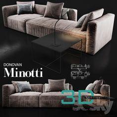 awesome 433. Sofa Minotti donovan 3D model Download here: http://3dmili.com/furniture/sofa/433-sofa-minotti-donovan-3d-model.html