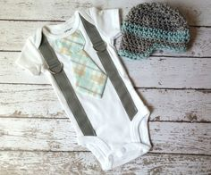 Baby Boy Tie Onepiece Bodysuit with Suspenders and by mmhandmades