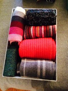 I separated my winter and spring/summer scarves into two baskets.
