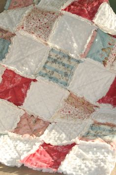 Baby Girl Rag Quilt Shabby Chic French Country Ready to Ship