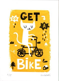 Get a bike limited gocco print. €12,00, via Etsy.