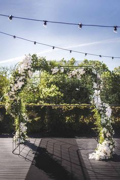 Adore this industrial meets pretty floral arbour by The Style Co.   Visit our blog to see more arbour inspiration!  Image by Erin and Tara