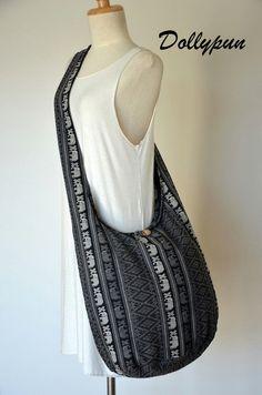 Classical Black Ethnic Bag Hippie Bag Elephant Bag by Dollypun