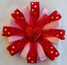 Mini Valentine's Day Daisy Hair bow by TwentySevenDaisies on Etsy, $5.00