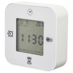 IKEA - DEKAD, Alarm clock, black, No disturbing ticking sounds since the clock has a silent quartz movement. Batteries are sold separately, required. We recommend using alkaline batteries in the clock. Big Wall Clocks, White Clocks, Bookcase With Glass Doors, Glass Cabinet Doors, Ikea Clock, Billy Oxberg, Kitchen Clocks, Thermometer, Ikea Family