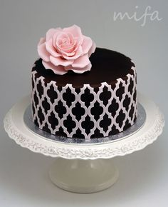 Back cake with White Stencil and rose