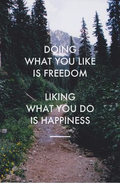 'Doing what you like is freedom. Liking what you do is happiness' via Alegoo.com