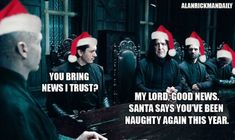 Funny book humor and Christmas memes for book nerds, including this one for Harry Potter fans.
