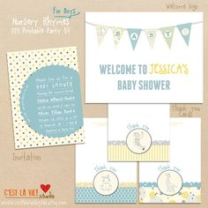 Nursery Tales - DIY Baby Shower - Boy - Printable Collection