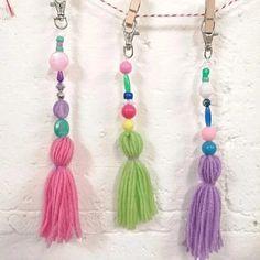 Free tassel keyring drop in mini workshop Saturday January – Made in Ashford January 10, Tassel Necklace, Tassels, Workshop, Drop Earrings, Mini, Creative, How To Make, Free