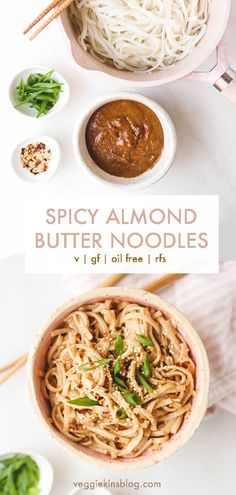 Delicious spicy almond butter noodles made in under 10 minutes. Perfect for dinner or lunch, and you can customize with your favourite veggies and plant proteins. This recipe is vegan, gluten-free, oil free and refined sugar free. Pastas Recipes, Lunch Recipes, Whole Food Recipes, Vegetarian Recipes, Cooking Recipes, Healthy Recipes, Vegetarian Benefits, Simple Recipes, Skinny Recipes