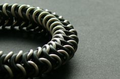chainmaille elastic titan & EPDM bracelet  jewelry for men