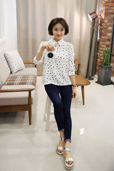 Dot Lace Collar Blouse