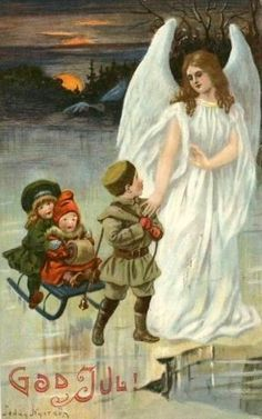 Holiday Angel by Jenny Nystrom Old Christmas, Christmas Scenes, Vintage Christmas Cards, Christmas Angels, Victorian Christmas, Swedish Christmas, Entertaining Angels, Angel Artwork, Munier