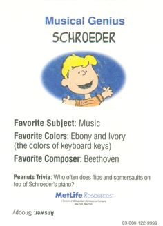 Peanuts MetLife All Star Cards - Schroeder Peanuts Gang, Schroeder Peanuts, Peanuts Cartoon, Charlie Brown Christmas, Charlie Brown And Snoopy, Music Clipart, Lucy Van Pelt, Star Cards, Cross Stitch Pictures