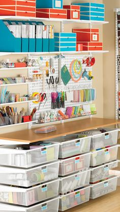 Organizing craft room, organizing stamping supplies, getting organized Sewing Room Organization, Craft Room Storage, Craft Rooms, Storage Ideas, Desk Storage, Office Organization, Storage Boxes, Organization Ideas, Space Crafts