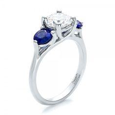 Custom Three Stone Diamond and Sapphire Engagement Ring