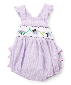 Lavender Flower Smocked Bubble Romper - Infant & Toddler