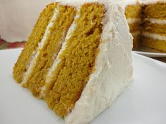 """Pumpkin Cake with Cinnamon Frosting - This is the best """"from scratch"""" pumpkin cake that I have ever had.  It is delicious as a cake and it is delicious as cupcakes!  It is my go-to recipe for pumpkin cake!"""