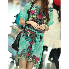 Turnup Design Short Sleeve Round Collar Pullover Chiffon Print Dress For Women