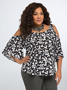 Butterfly Georgette Cold Shoulder Top, DISTRESSED BUTTERFLIES