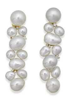 PAIR OF SOUTH SEA PEARL AND DIAMOND EARRINGS, PASPALEY