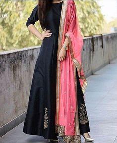 Black Taffeta Silk Long Anarkali Embroidery Salwar Suit