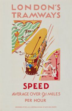 SPEED, London's Tramways litho. poster