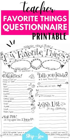 Give this teacher favorite things questionnaire to your child's teacher and you will be able to make sure you gift them their favorite things all year long! It will be a fun way for your teacher to share a little bit about themself. There is even a place to share a wish list for their classroom. #favoritethings #teachers #printables #teacherappreciation Teacher Wish List, Beginning Of Year, Back To School Crafts, Teacher Favorite Things, Children's Place, Parenting Advice, Teacher Appreciation, Birthday Wishes, Classroom