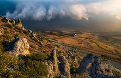 Ghost Valley - Coming storm at sunset from Ghost Valley, Crimea, Russia, October 2015