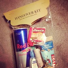 Hangover Kit- fun gift, Red bull, Cliff bar, crackers, etc.  www.aboutdetailsdetails.com