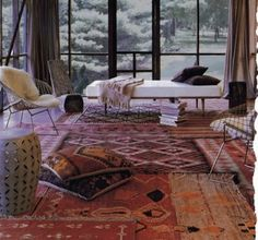 wondering how to rock a turkish rug?  layering vintage rugs and pairing with cool furniture makes it modern.
