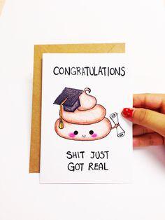 Funny graduation card, graduation congrats card, funny congratulations card, shit just got real card, cute graduation card, shit pun card by LoveNCreativity