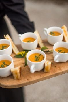 25 Reasons to Love an Outdoor Fall Wedding There is no reason you can& serve grilled cheese and tomato soup at your wedding! Fall is made for comfort food. The post 25 Reasons to Love an Outdoor Fall Wedding & Wedding Inspiration appeared first on Food . Wedding Appetizers, Soup Appetizers, Wedding Canapes, Appetizer Ideas, Canapes Ideas, Wedding Snacks, Wedding Food Stations, Mini Foods, Wedding Catering