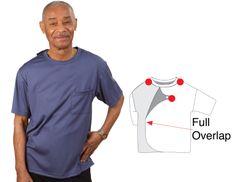 Men's Cotton Adaptive Apparel T-Shirt - Disability Clothing Item #85010 US $39.98