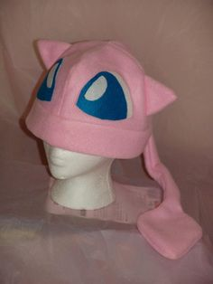 POKEMON MEW inspired fleece HAT cosplay by MoonyCouture on Etsy, $25.00