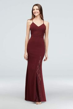 79fca6ad4be A modern lace racerback adds a touch of romance to the sporty flair of this  scuba crepe mermaid dress. By City Triangles Polyester