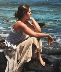 "Galleries in Carmel and Palm Desert California - Jones & Terwilliger Galleries - ""Solitude"" Duffy Sheridan Oil on Canvas x Palm Desert California, Hyper Realistic Paintings, Body Paintings, Social Art, Female Profile, Realism Art, Am Meer, Duffy, Learn To Paint"