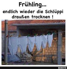 Frühling.. endlich wieder die Schluppi draußen trocknen! | Lustige Bilder, Sprüche, Witze, echt lustig