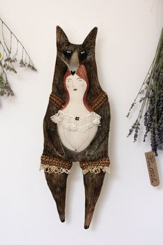 Lucinda and the Bear ooak textile art doll soft by pantovola