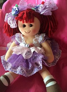 Christmas Rag doll dressed in vintage laces by Babybonbons on Etsy