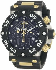 Invicta Men's 0654 Subaqua Collection Nitro Chronograph Black Polyurethane Watch Invicta. $299.99. Water-resistant to 330 feet (100 M). Black textured dial with gold-tone hands and dot hour markers; luminous; black polyurethane unidirectional bezel with white arabic numerals and screw-down crown and pushers; 18k gold-plated stainless steel pushers, lug screws and buckle. Precise Swiss-quartz movement. Durable flame-fusion crystal; brushed stainless steel case; black polyureth...