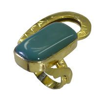 adorable Green onyx Copper Green Ring supply L-1in US 5678