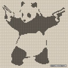 Banksy Cross Stitch Pattern  Panda With Guns by StitchBucket, $3.99