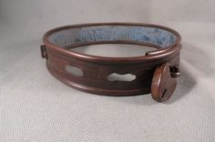 Antique,Ornate Victorian Brass Dog Collar With 1874 Patent Padlock,Great Patina