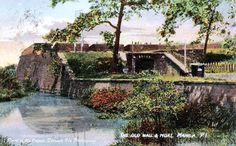 Thw Old Wall and Moat, Manila, Philippine Islands, 1905 Fort Santiago, Intramuros, Old Wall, Many Men, Pinoy, Manila, Philippines, Backdrops, Old Things