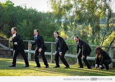 Evolution: Groom and groomsmen - Funny wedding photo with groom and groomsmen posing like the evolution pictures.