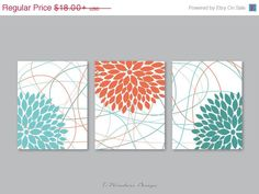 ON-SALE Floral Bursts Botanicals Wall Art Print Set of (3) 5 x 7, 8 x 10 or 11 x 14 // Aqua, Coral, Teal, White // Modern Home Decor by 7WondersDesign on Etsy https://www.etsy.com/listing/228749297/on-sale-floral-bursts-botanicals-wall