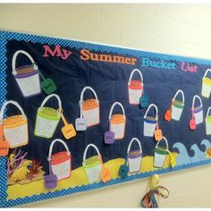 """""""My Summer Bucket List"""" is a fun topic for students to write about at the end of the school year.  I like how this teacher has had her students write inside bucket templates and their names are on shovels.  This is a great idea for a last bulletin board d"""
