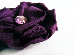 Dark Purple Brooch  Flower Brooch  Textile Flower  by FlosCaeli, $9.99